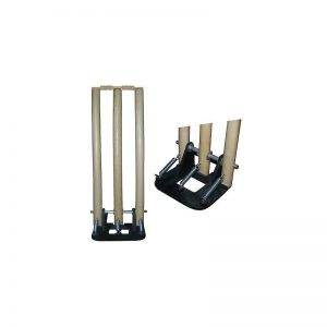 Cricket Wooden Spring Stumps with Bails with Heavy Iron Base