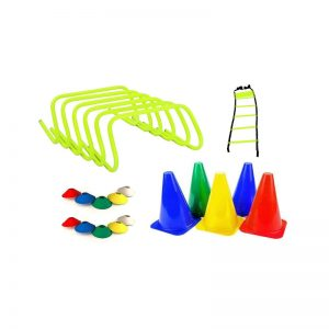 MSPL Hurdles Pack of 6 Pcs, Soccer Cone Multicolour 10 Pcs, Cone Marker 6 inch Pack of 6 Pcs, 1 Speed Ladder 4 M